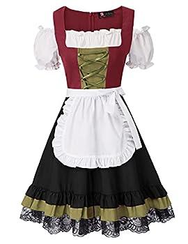 Women German Dirndl Dress Costumes for Bavarian Oktoberfest Halloween Carnival XL Wine and Black