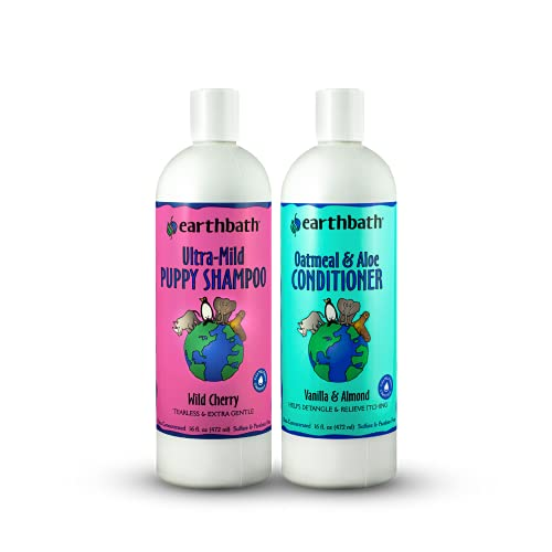 earthbath Ultra-Mild Puppy Shampoo and Oatmeal & Aloe Conditioner Grooming Bundle, 16 oz - Best Shampoo and Conditioner for Puppies - Made in USA