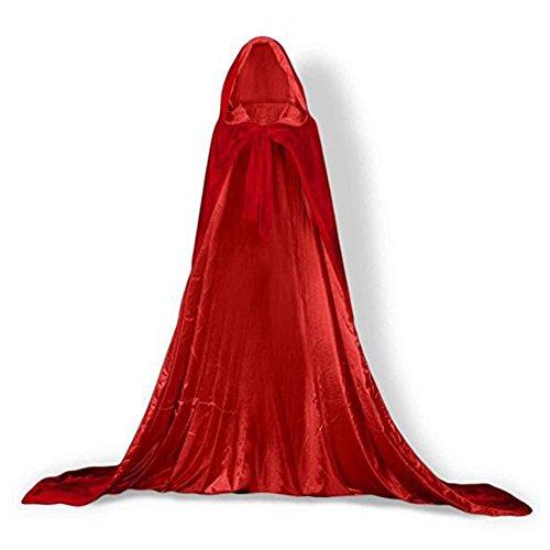 YaoDgFa Unisex Halloween Kostüm Karneval Fasching Costume Umhang Cape Cosplay Kapuze Vampir Zauberer für Damen Herren Erwachsene/Kinder, Rot, 130cm(Höhe160-180cm)