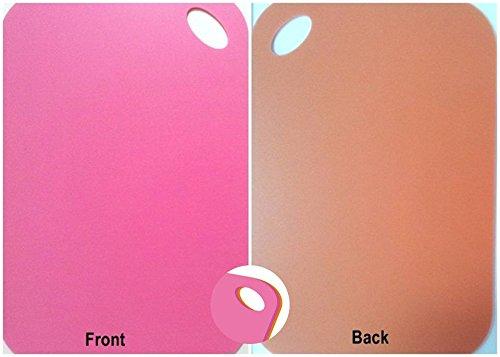 UESTA Doppio Colori Ogni Lati Plastica Taglio Tavola Tagliere Bloccare 36 X 24 Centimetro (Rosa/Arancia)