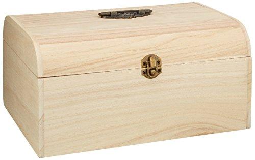 Rayher 6166600 Holz-Koffer, 29,5 x 20,5 x 14 cm, Antikbeschlag, Griff und Verschluss aus Metall, Bastelkoffer, Utensilienkoffer, Holzkoffer, Holzbox, unlackiert, naturbelassen, ohne Inneneinteilung