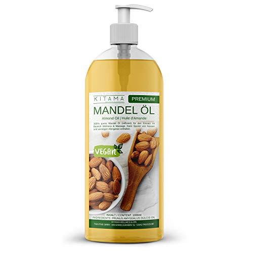 Kitama Mandelöl 100% rein 1000ml (1 Liter) Naturkosmetik - sanftes Baby-Öl, natürliches Pflege-Öl für Haut & Haar - Ideal für Aromatherapie als Basisöl Massageöl