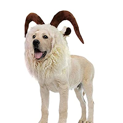 Onmygogo Funny Reideer Pet Costumes for Dog, Cute Furry Pet Wig for Halloween Christmas, Pet Clothing Accessories (Goat, L)