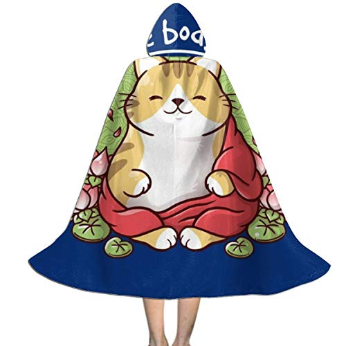 NUJSHF Capa con Capucha Unisex para Disfraz de Buda con diseño de Gato de un Dios para Halloween o Fiestas de Navidad