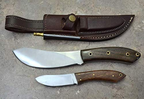 """Ocean Axis 2 Pack 10.5"""" & 7"""" Handmade Steel Hunting Knife with Free Knife Sharpener & Fire Starter- Walnut Wood Handle-Fixed Blade Knife with Leather Sheath- Outdoor Edge Knife Survival & Camping Knife"""