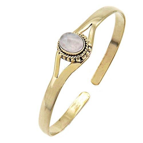 mantraroma Armreif Armband Messing golden Rosenquarz rosa (932-05-011-07)
