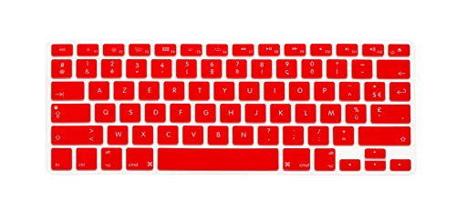 French U.S. Edition Soft - Protector de silicona para MacBook Keyboard Cover for Pro Air13 15Retina Display azerty-Red