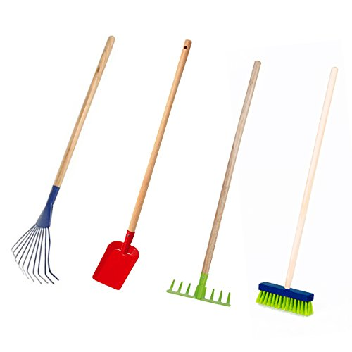 Land-Haus-Shop Kinder Gartengeräte Set 4 TLG, Besen Harke Rechen Schüppe Garten Geräte Spielzeug