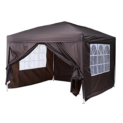 Outsunny–Gazebo impermeabile, si monta da solo, per matrimonio, campeggio, festa, 3m x 3m, tenda, telone, tendone, borsa per trasporto in omaggio + 2pareti con 2 finestre