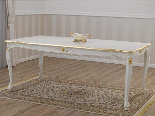 SIMONE GUARRACINO LUXURY DESIGN Mesa de Comedor Allison Estilo Barroco Decape Rectangular Color Marfil Detalles Hoja Oro cm 165 x 85