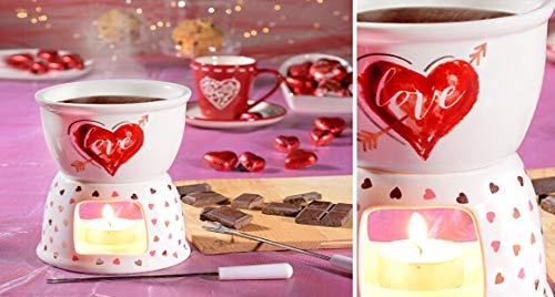 Set de Fondue à Chocolat pour 2 personnes motif « Love » Cadeau Saint Valentin, anniversaire etc…