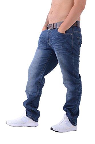 Crosshatch Herren Denim-Jeans New Farrow Designer mit gratis Gürtel Gr. Bundweite: 91 cm, beinlänge: 76 cm (36 W / 30 L), Mittlere Wäsche