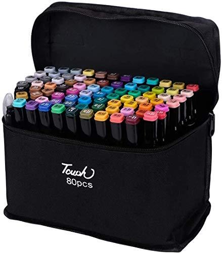ELOKI Kunst-Marker-Set-80 Farben Dual Tip Permanent Sketch Marker–Ideal für Künstler Erwachsene Kinder Zeichnen Malen Basteln Geschenke –1 Farbkarte–Tragetasche für Aufbewahrung und Reisen(schwarz 80)