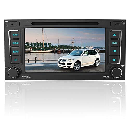 AWESAFE Autoradio mit Navi für VW Touareg Transporter T5 Multivan, 2Din Radio 7 Zoll Touchscreen, Unterstützt DAB+ RDS CD DVD SD USB Bluetooth MirrorLink Lenkradsteuerung