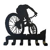 WOTEG Perchero Pared - Forma de Bicicleta, Organizador de la Percha de Pared para Ropa, Ganchos para Abrigos Toallas de Batas de baño (6 Ganchos)