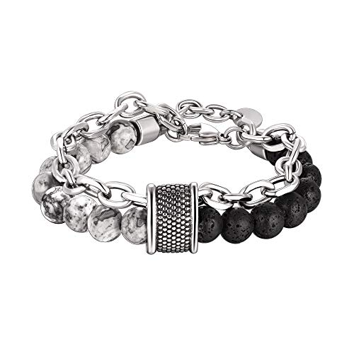 bandmax Black Lava Rocks and Map Jasper Combine Natural Relaxed Healing Stone Beads Bracelet for Men Boys Durable Stainless Steel Link Chain Double Wristaband Bracelet Jewelry,8.7 inches