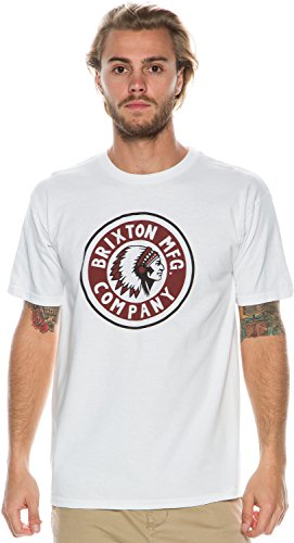 BRIXTON Herren T-Shirt Rival, White/Cardinal, M, BRIMTSSRIV