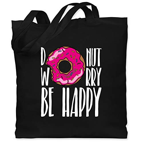 Shirtracer Sprüche - Donut worry - weiß - Unisize - Schwarz - donut jutebeutel - WM101 - Stoffbeutel aus Baumwolle Jutebeutel lange Henkel