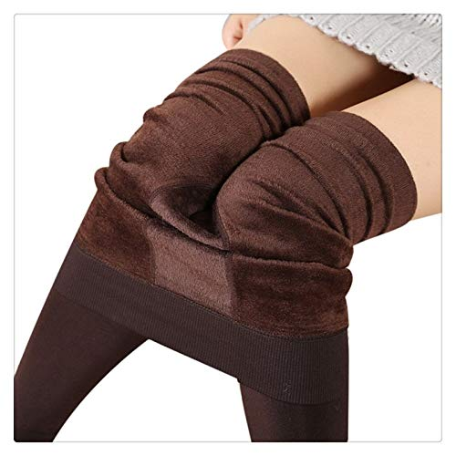 XBECO Las Mujeres Invierno Polar Elástico Sexy Leggings Fleece Forrado Caliente Pantalones Térmicos Delgados Buena Elasticidad (Color : Coffee, Size : One Size)