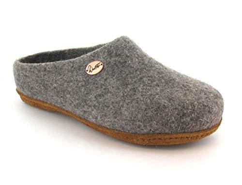 WoolFit Classic schmal - Damen & Herren Filz-Pantoffeln - handgefilzte Hausschuhe mit zweifarbiger Einlegesohle für schmale Füße, hell grau, 41