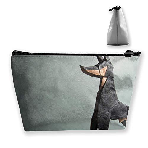 Origami Dog Makeup Bag Große trapezförmige Aufbewahrung Reisetasche Waschen Kosmetikbeutel Stifthalter Reißverschluss Wasserdicht