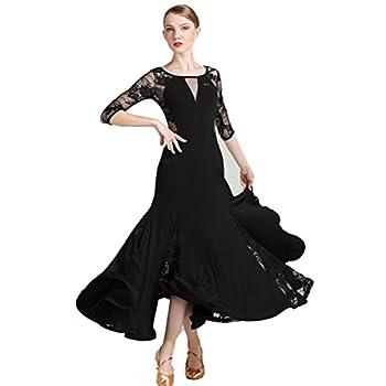 Women New Fluorescent Color Modern Round Neck Lace Sleeves Flower Waltz Spanish Flamenco Tango Salsa Dance Dress  XL Black