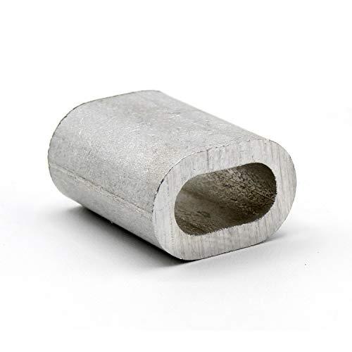 HEAVYTOOL Pressklemme 8mm Aluminium für Drahtseil 8mm [20 Stück] DIN EN 13411-3 (DIN 3093) | Presshülsen, Alu Klemme Stahlseil Draht Seilverbinder