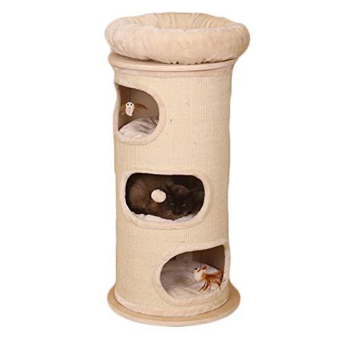Marco sólido Escalada Gato de Madera pequeño Gato con Naturales de sisal arañar Puestos y Las burlas de Plumas camada de Tres Niveles del Gato Suministros para Mascotas Cat Play House