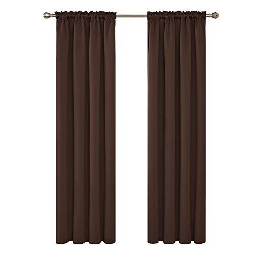 Deconovo Tende Oscuranti Termiche Isolanti con Passanti per Finestre Soggiorno Interni 132x160cm 2 Pannelli Cioccolato