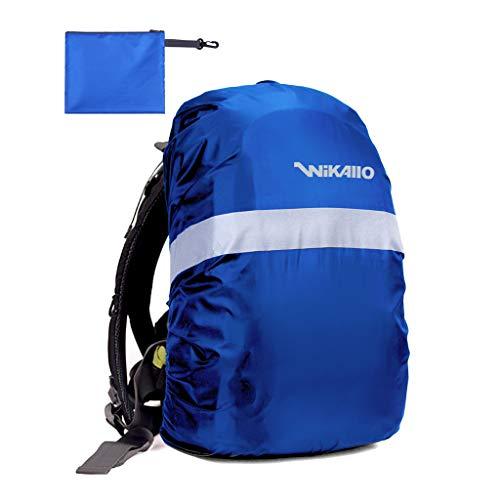 Wikallo Housse de protection anti-pluie pour sac à dos - Imperméable et résistant au vent, avec réflecteurs de sécurité et revêtement intérieur - S (35 l) - M (45 l) S bleu