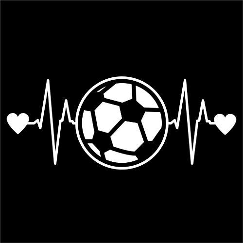 ANVPI Voetbal Heartbeat Vinyl Sticker Auto's Trucks Muren Laptops Bekers Wit 7,5 X 3 Inch