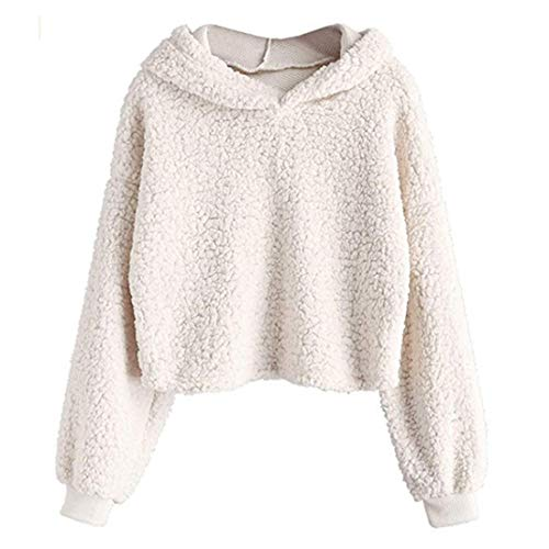 Women Hoodie Women Hoodies Elegant Solid Color Simplicity Comfortable Fleece Fashionable Tops Autumn and Winter New Short Warm Women Sweatshirt F-Beige XL