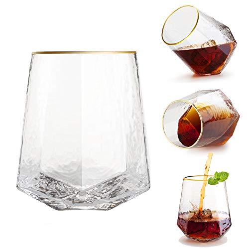 Vasos de Whisky Diamond Transparente 500ML Juego de 4 con Textura Martillada para Bourbon, Whisky Irlandés, Ron, Tequila,...