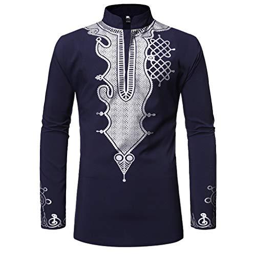 Carol -1 Herren Dashiki - Traditionelles Oberteil mit afrikanischem Druck Langarmshirt Longsleeve Longshirt mit Stehkragen Hemdblusen V-Ausschnitt Slim Fit Hemden