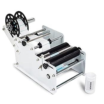 KIMTEM Manual&Semi-Automatic Round Labeling Machine Bottle Label Applicator for Round Bottles  Manual White