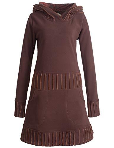 Vishes - Alternative Bekleidung - Langärmliges Patchwork Hoodie Eco Damen Fleecekleid mit Daumenlöchern braun 36
