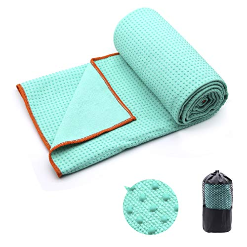 "Eunzel Yoga Towel,Hot Yoga Mat Towel - Sweat Absorbent Non-Slip for Hot Yoga, Pilates and Workout 24"" x72(Grip Dots,Green)"