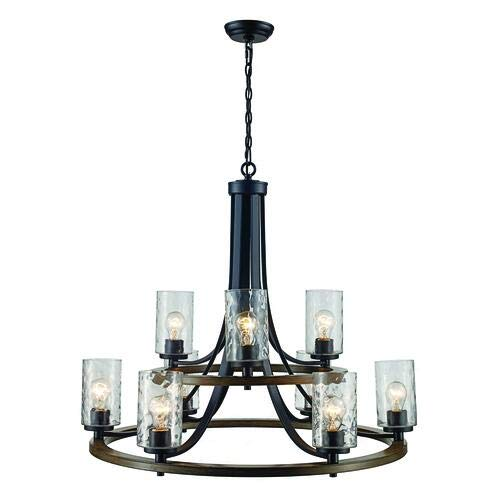 Patriot Lighting Maxton 9 Light Aged Iron with Faux Wood Chandelier
