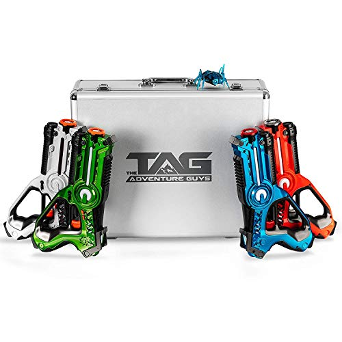 The Adventure Guys Deluxe Lazer Tag Gun Set with Designer Case - Laser Tag Guns Set of 4 for the...