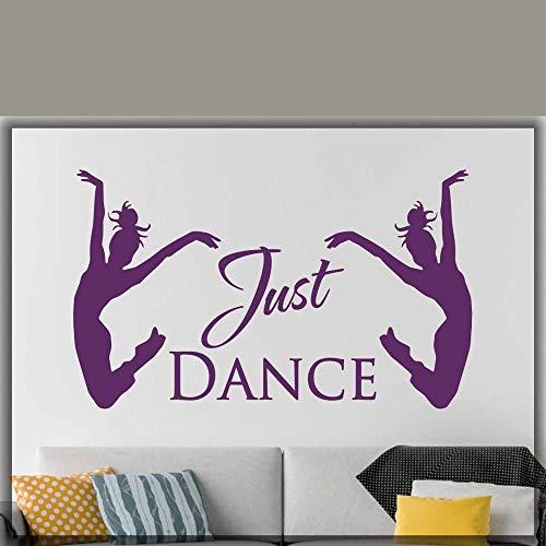 jtxqe Balletttänzerin Just Dance Dance Studio Ballerina Wand Zitat Küche Wand 3D Wandaufkleber Für Die Wanddekoration 95X57Cm