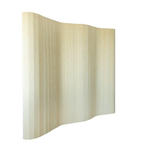 Homestyle4u 303, Raumteiler Bambus, Wellenform Rollbar, Natur Matt, BxH 250x200 cm