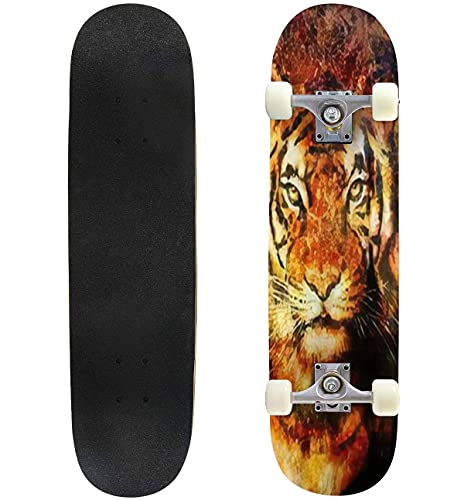31' Complete Skateboard Tiger Collage on Color Abstract Background Rust Structure Wildlife Standard Skateboard for Beginners Kids Adults, Maple Double Kick Deck Concave Skate Board