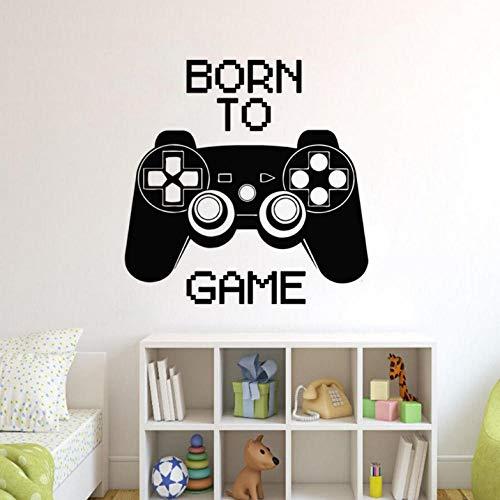 Lznxzq Nascido No Jogo Decalque Da Parede Controlador De Jogo Arte Da Parede Adesivo Gamer Presente Casa Meninos Decoração Do Quarto Removível Jogos Mural Da Parede