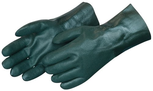 Liberty 2733 PVC Coated-Supported Jersey Lined Men's Glove with 12' Gauntlet, Chemical Resistant, Dark Green (Pack of 12)