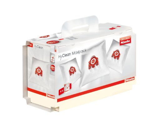 Miele Maxipack FJM Hyclean Staubbeutel, Inhalt: 4 Staubbeutel F/J/M, 1 Air Clean Abluftfilter für saubere Raumlauft, 1 Motorschutzfilter, rot