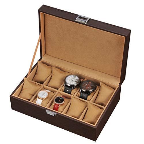 XUENUO Caja para Relojes 10 Ranuras de Pulsera de Cuero de imitación de joyería Caja de Reloj almacenaje de la exhibición del Caso del Recorrido de la Pulsera,A: Amazon.es: Hogar