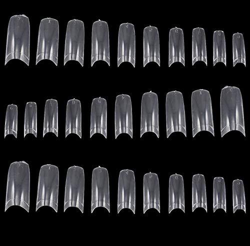 TRIXES 500 Puntas de Uñas de Manicura Francesa Acrílicas y Postizas para Esmalte o Extensión de gel Clara - Uñas Postizas