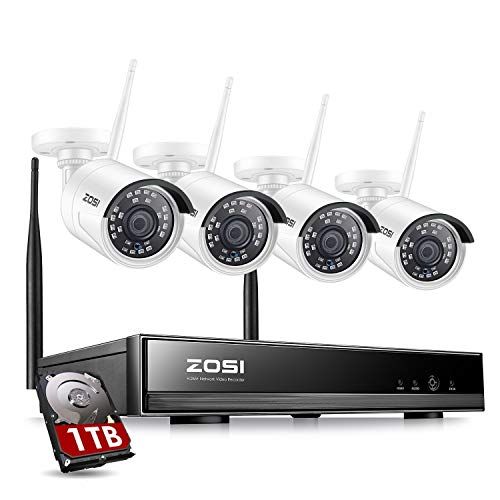 ZOSI 1080P Wireless Security Camera Systems H.265+ 8CH 1080P NVR...