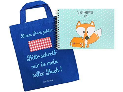 Cherry Picking Freundebuch Schule Schulfreunde Einschulung Schulkind Grundschule Poesiealbum Schulfreundebuch mit Tasche BLAU