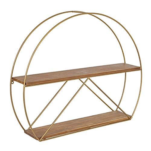 """Kate and Laurel Delmar Mid-Century Modern Wall Shelf, 26"""" x 21"""", Brown and Gold, Glamorous Geometric Wall Decor"""